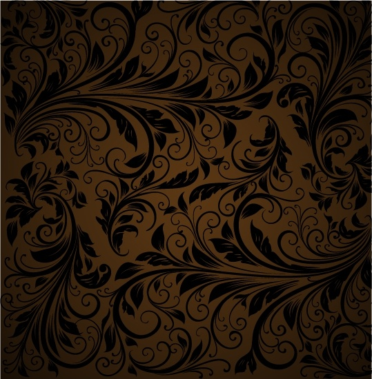 flora pattern dark retro swirled decor