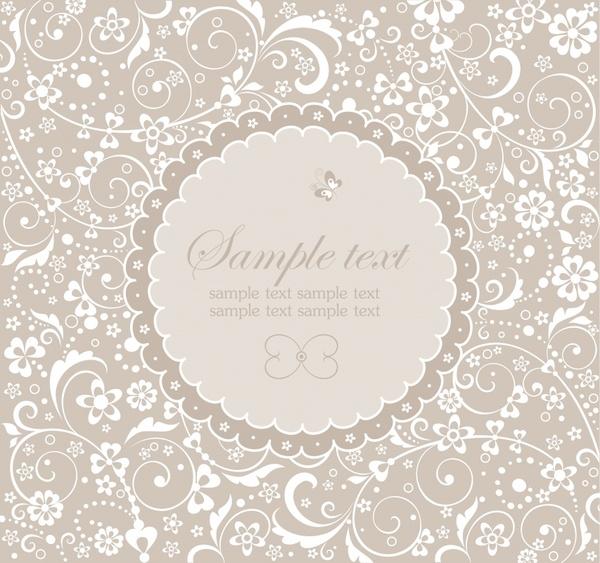 card pattern template elegant classical flora sketch