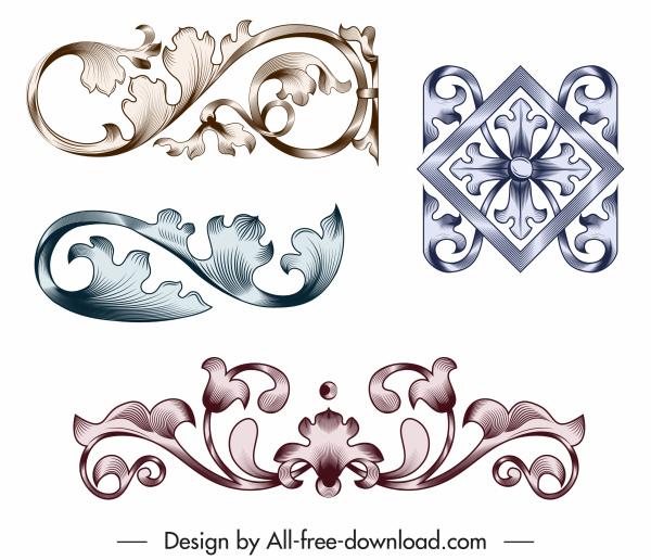 pattern design element elegant vintage floral sketch