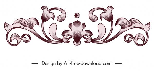 pattern design element symmetrical vintage flora shape