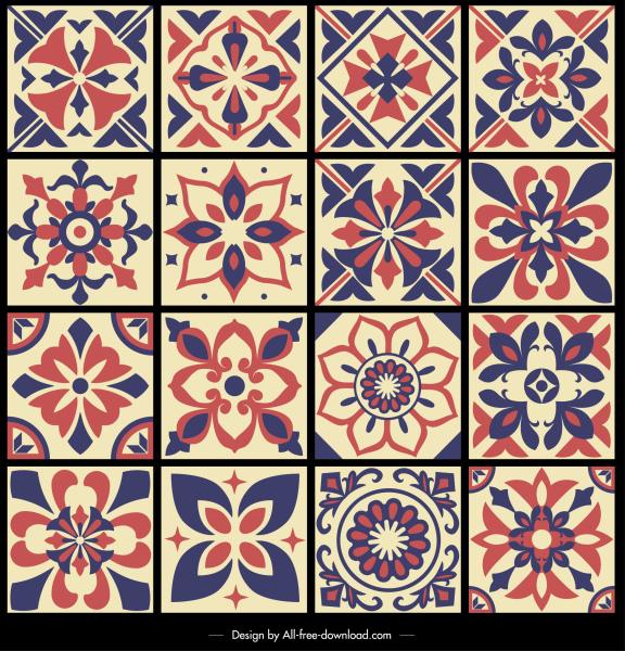 pattern design elements symmetrical petals sketch retro design