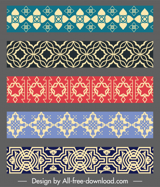 pattern elements templates colored classical repeating symmetric shapes