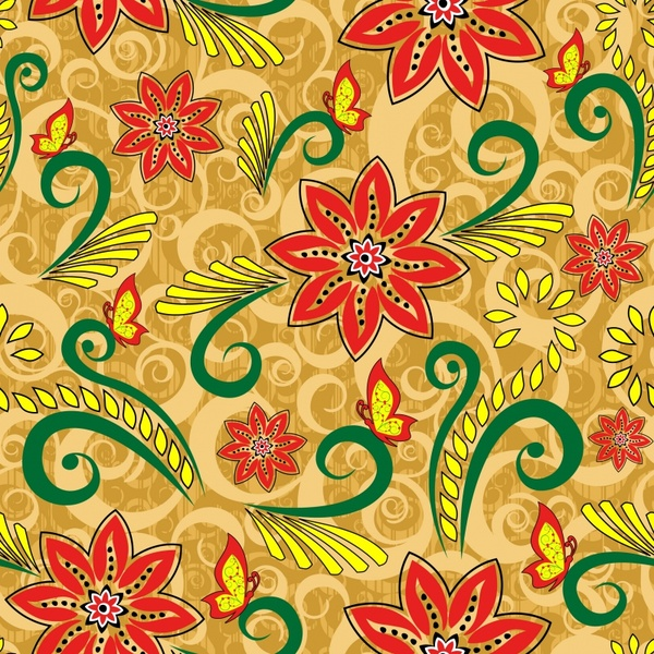 fabric pattern template colorful classical flowers decor