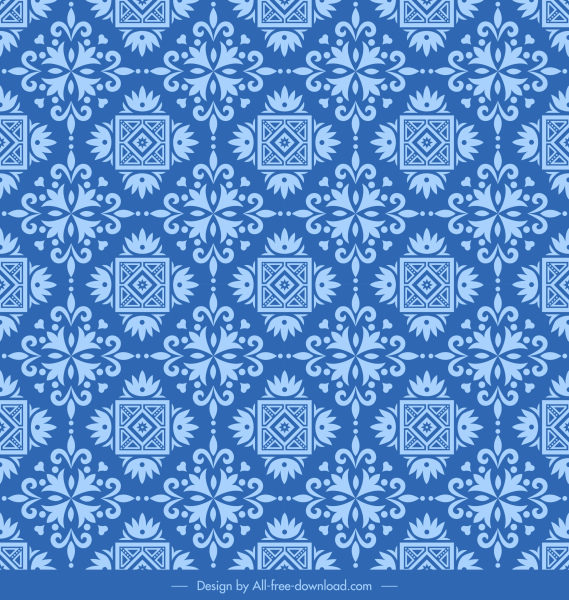 pattern template retro blue symmetrical flat repeating elements
