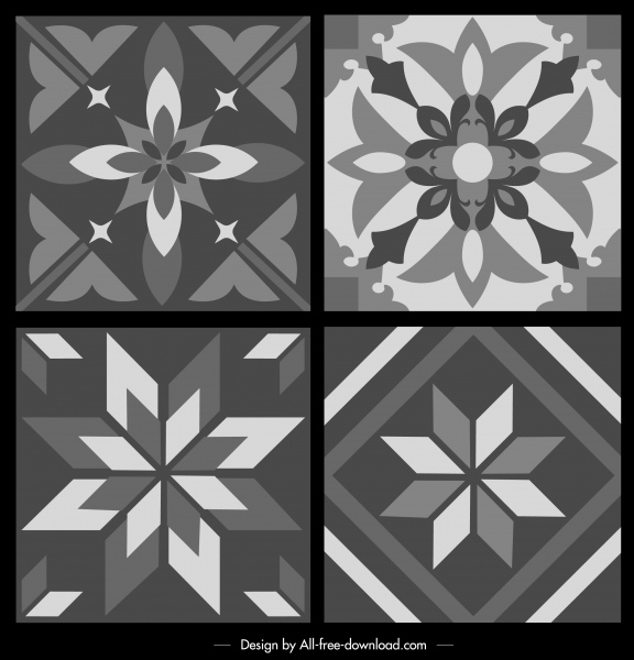 pattern templates black white retro symmetrical flora sketch