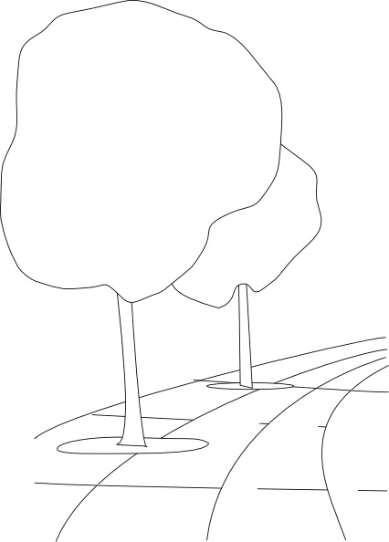 Pavement Street Trees Outline 3d Clip Art Free Vector In Open Office