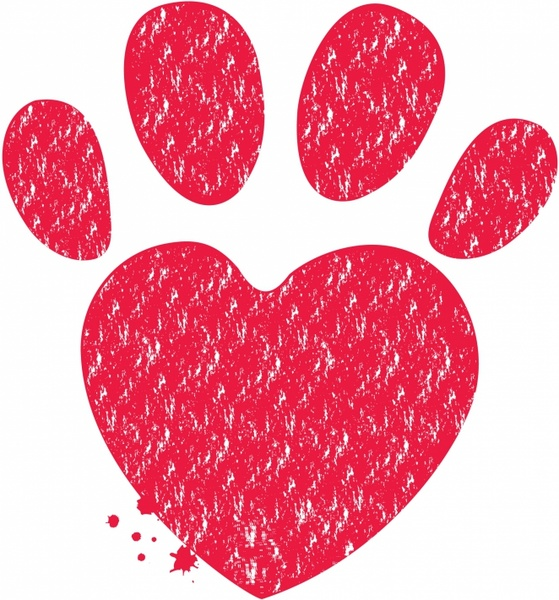 Paw and heart shape