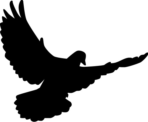 Peace dove silhouette vector illustration Free vector in