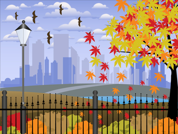 peaceful cityscape vector illustration with colorful design