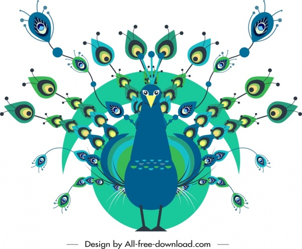 peacock painting colored classical flat sketch