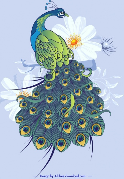peacock painting elegant colorful sketch floral decor