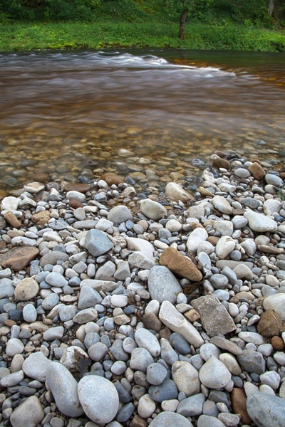 pebbles and river