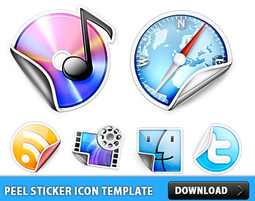 Peeling Sticker Icon Template PSD