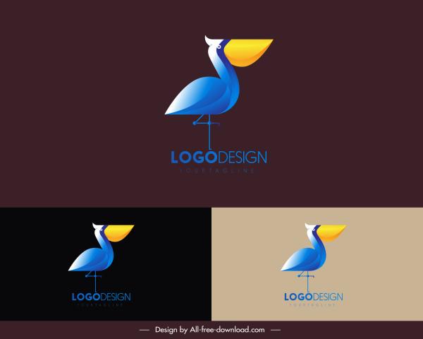 pelican logo template colorful flat design