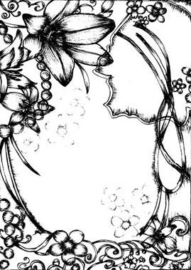 pen drawing style flower border clip art