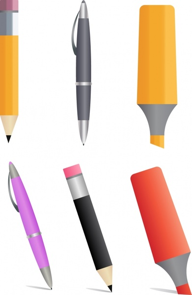 pen icons modern colored design