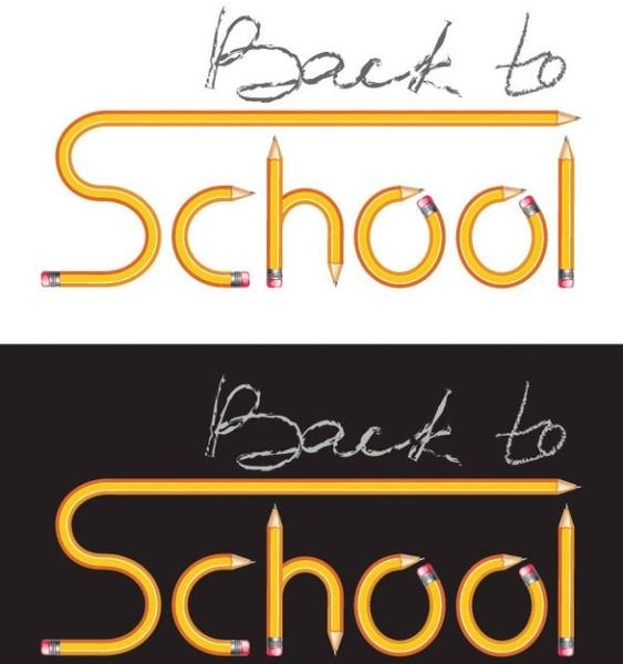pencil vector composed of school