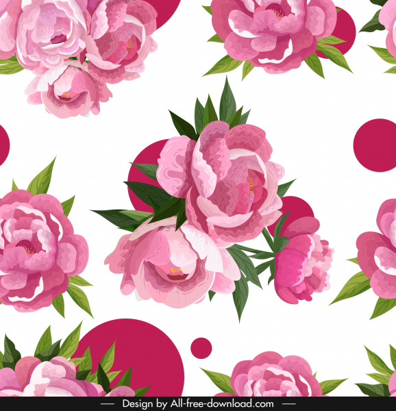 peonies background bright colored classical sketch blooming decor