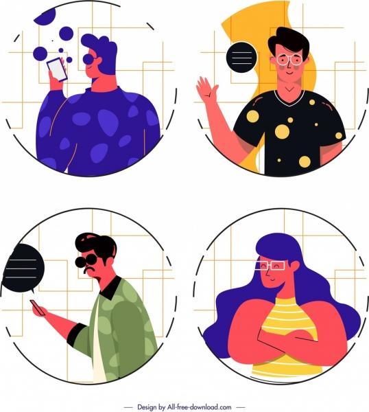 people avatar templates modern lifestyle design cartoon characters