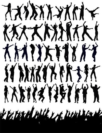 people dance silhouette vector art