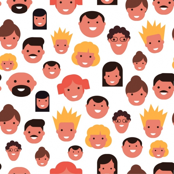 People face avatars collection smile emotion repeating flat Free