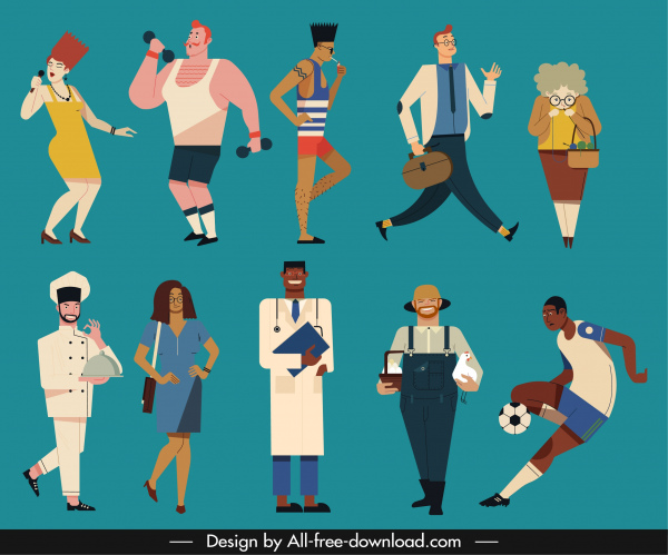 people icons activities sketch colored cartoon characters