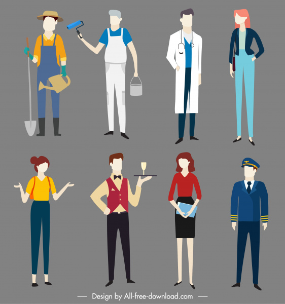 people job icons colored cartoon characters sketch