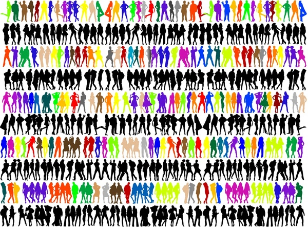 people icons collection colored silhouette design