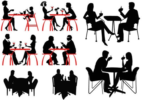 dinner gather icons people silhouettes design