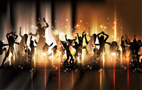 people silhouettes and party backgrounds vector
