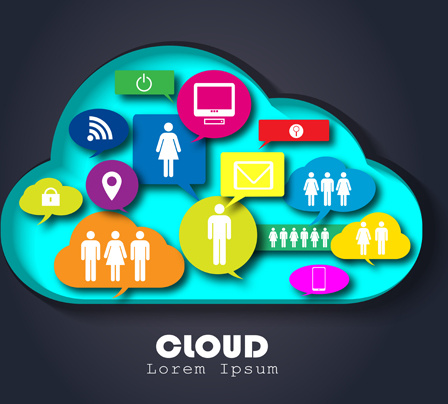 people social networks clouds vector