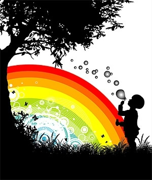 people trees flowers and rainbow silhouette vector