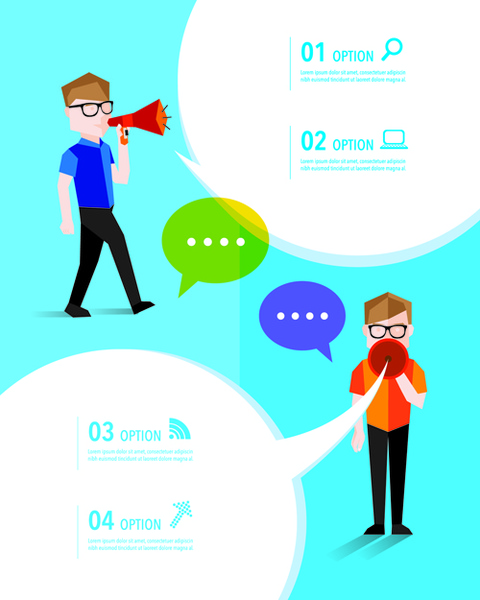 people with speech bubbles business template vector