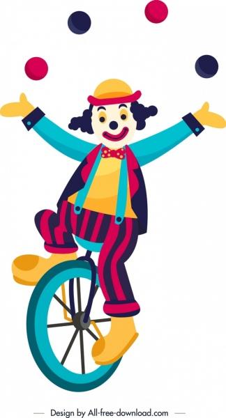 performing clown icon colorful cartoon design