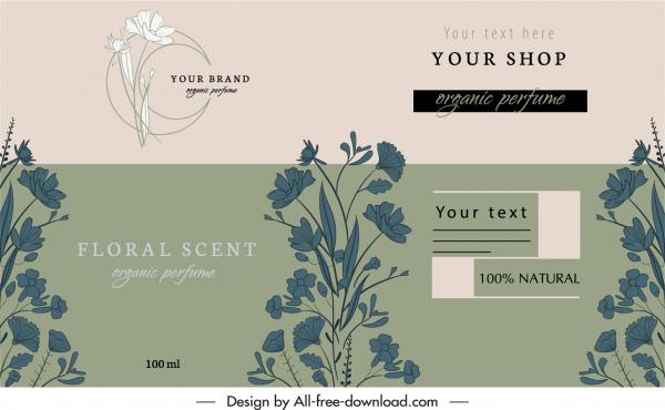 perfume label template elegant classic floral decor