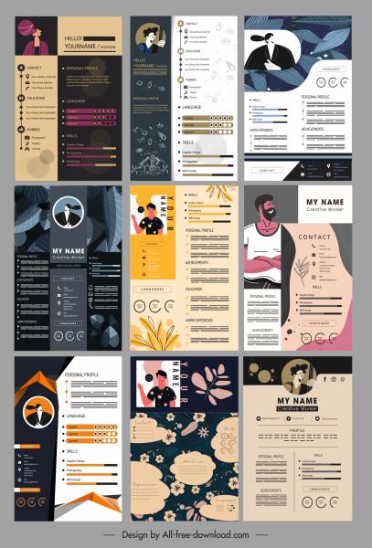 personal resume templates colorful dark decor