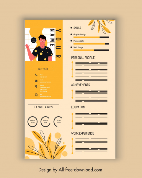personnel resume template bright decor leaves sketch