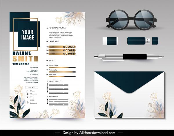 personnel resume template shiny modern elegant botanical decor