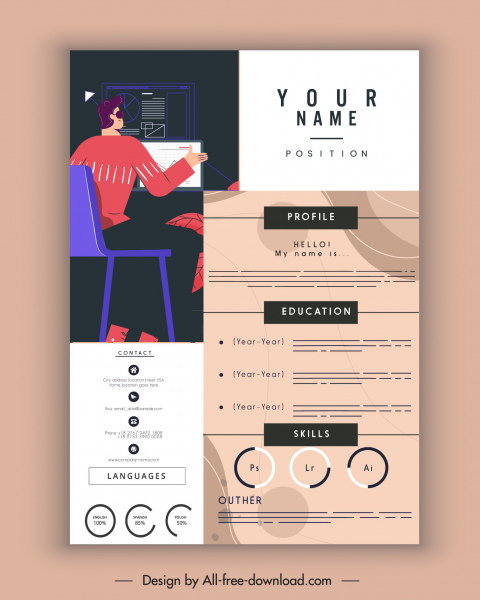 personnel resume template working man icon contemporary decor