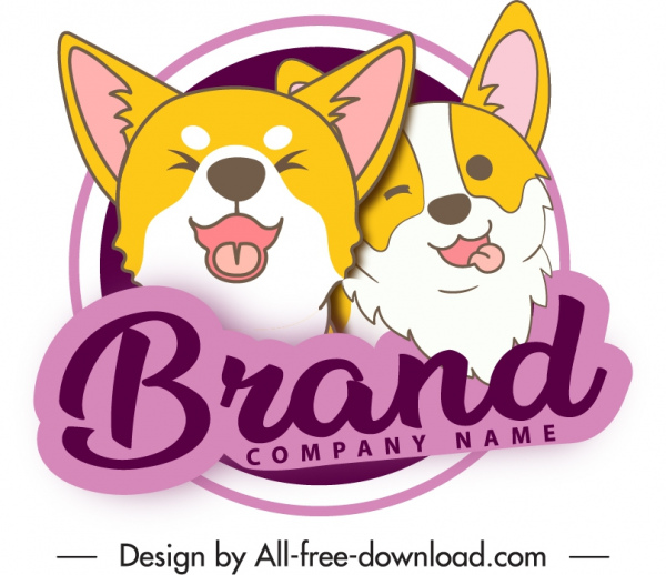 pet products label template cute funny puppies sketch