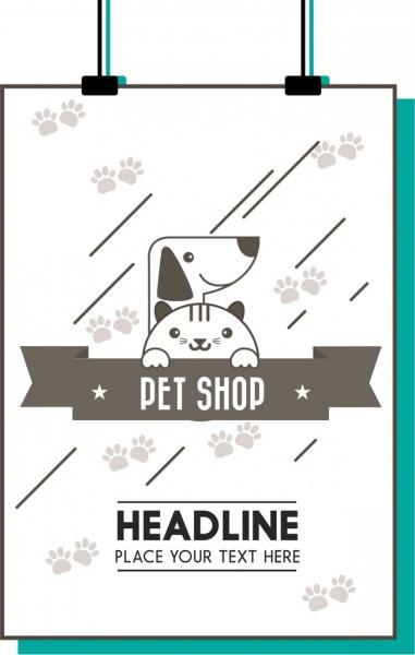 pet shop promotion poster dog cat footprints decoration
