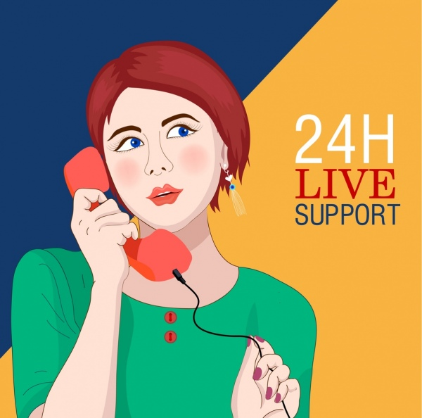phone operator advertising banner lady icon cartoon character