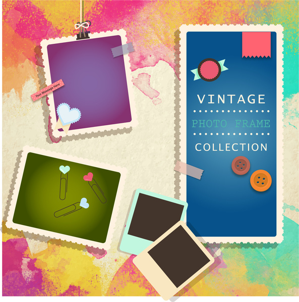 photo frames collection on colorful background