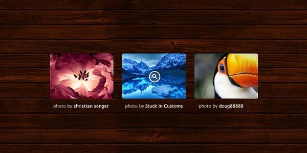 Photo Grid on Wood Background