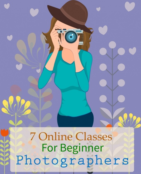 photographer class advertisement girl camera icons cartoon design