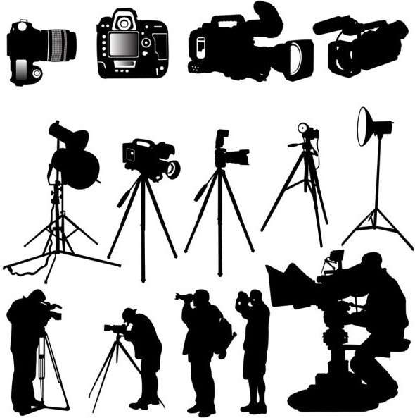 photographer silhouette 03 vector