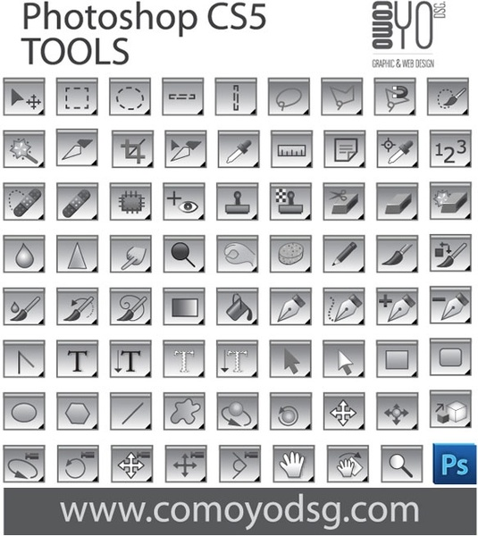 Photoshop cs5 tool collection free vector in encapsulated.