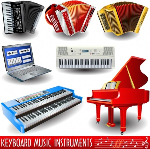 instruments design elements piano accordion laptop organ icons