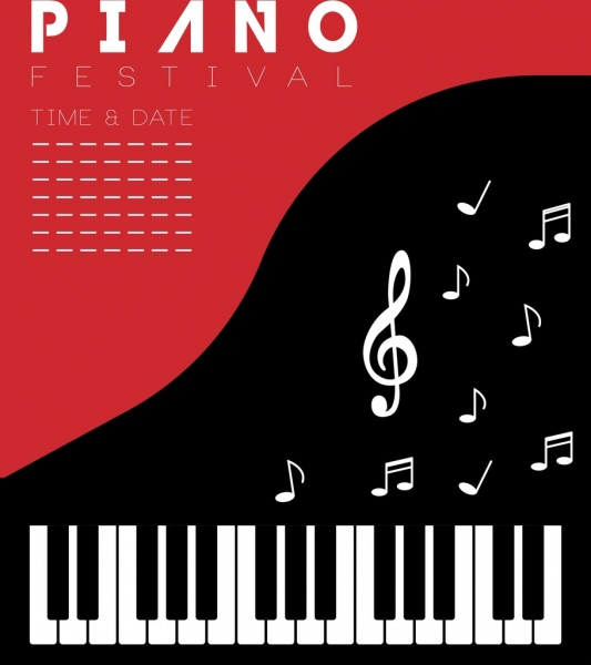 piano festival bannerkeyboards music notes icons decor