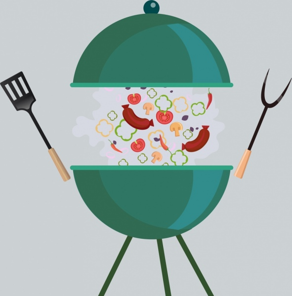 picnic background barbecue food utensils icons